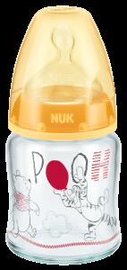 迪士尼小熊維尼120ML寬口玻璃奶瓶連矽膠奶咀